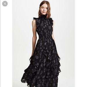 Rebecca Taylor Black Metallic Rose Midi Dress